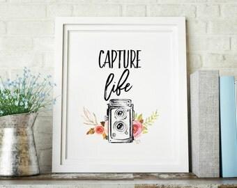 Capture Life Camera Watercolor Floral Decorative Digital Print INSTANT DOWNLOAD