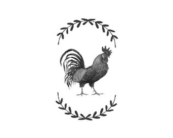 RoosterVintage Illustration Digital Download  Vintage Rooster Clipart Graphic Print  Craft instant  iron on transfer pillows