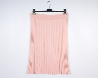 Beige Pink Vintage Skirt On The Knee Pencil Pleated Accordion Striped Shirt Baby Pink
