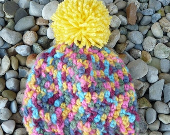 Newborn Multi-Colored Pom-Pom Hat