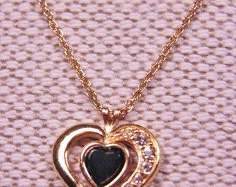"Avon 1992 Black Onyx & Rhinestone Heart Pendant on Chain 17 "" Long with 2"" extender. Circa 1992... 60% Off"