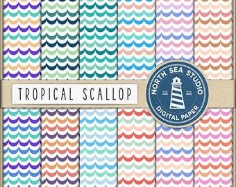 SHELLFISH Scallop Digital Paper Scallops Paper Sea Wave Backgrounds Digital Scrapbooking 12 JPG 300 dpi Files Download BUY5FOR8