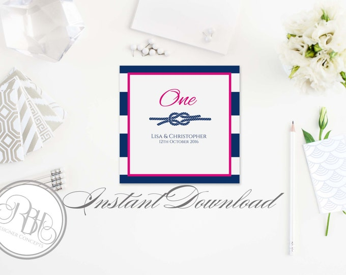 Nautical Table Number Template-INSTANT DOWNLOAD-PDF Editable Text Only-Nautical Navy White Stripe Pink with Reef Knot-Deirdre