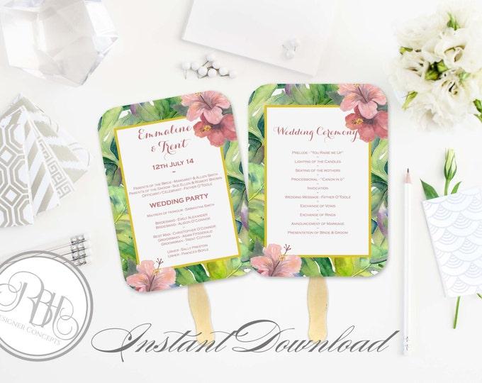 Tropical Wedding Program Fan Template -Instant DOWNLOAD - EDITABLE TEXT pdf Only - Tropical Island Beach Fan-Lucinda