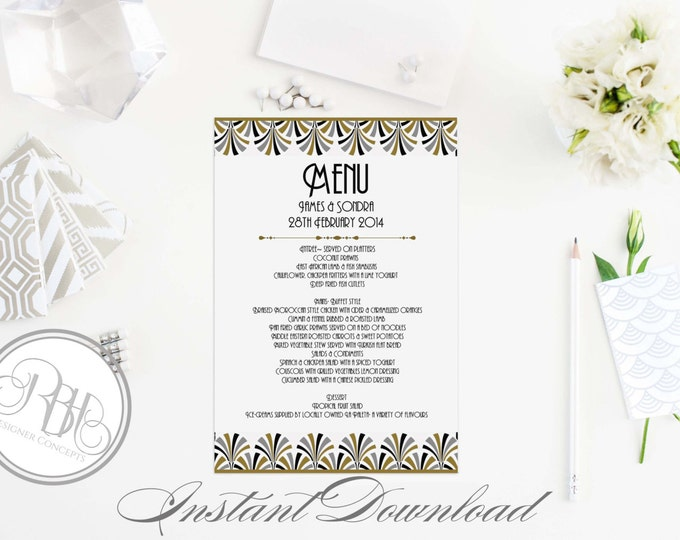 "Art Deco Wedding Menu Template-Instant Download - DIY Text Editable Only-Elegant Black & Gold Art Deco Design - ""Bridgette Menu Card"""