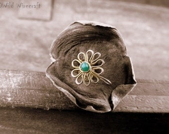 Teal Flower Faux nose ring/Fake Nose Ring/Wire Wrapped jewelry/Handmade/Brass Nose Ring/Body Jewelry/Free Combined Shipping/Nose Clip on