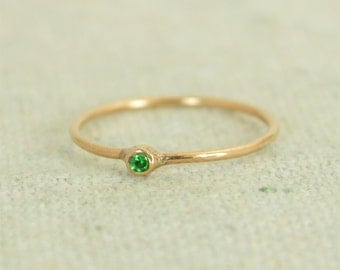 Tiny CZ Emerald Ring, Rose Gold Filled Emerald Stacking Ring, Green Emerald Ring, Emerald Mothers Ring, May Birthstone, Emerald Ring