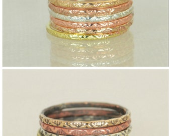 Bohemian Stacking Rings, BoHo Rings, Tribal Rings, V Stamp Stacking Ring, Rustic Ring, Sterling Ring, Brass Ring, Bronze Ring, Gold Ring-G13