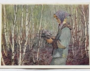 """Artist Zholtok. Vintage Soviet Postcard """"Spring"""" - 1962. Sovetskiy hudozhnik. Girl, Grove, Birches, Flowers, Sunny, Forest, Walk"""