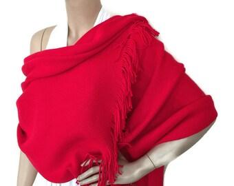 Red Winter Shawl, Red Warm Scarf, Bone Knit Scarf, Elegant Red Wrap, Winter Wedding Bridal Shawl, Blanket,Soft Cozy Cover Up, Christmas Gift