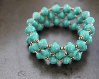 "Fair Trade Wire Wrap Paper Bead Bracelet // ""Jinja Wrap"" // Because of Hope"