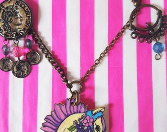 Carousel Horse Necklace Pendant pastel and bronze