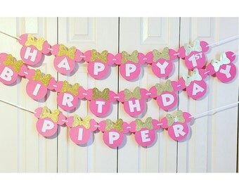 Minnie Mouse Birthday Banner | Minnie Mouse 1st Birthday Party Decorations | Minnie Mouse Garland | Pink and Gold Minnie Mouse Banner