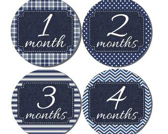 Baby Month Stickers- Milestone Sticker- Baby Boy Month Stickers- Monthly Stickers- 12 month stickers- Milestone Baby Month Stickers- B15