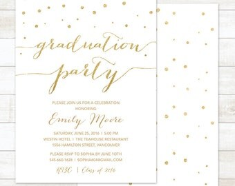 graduation party invitation, white and gold graduation party invitation, gold confetti graduation invitation, college graduation invitation