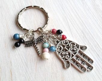 Gemstone Meditation Hamsa Keychain, Fatima Great Gift For Her , free shipping; ITEM KY-TRE1