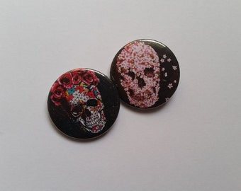 Hand made Limited Edition for Halloween Tumblr Skulls button pins - 2 pack or individual