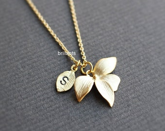 Personalized Orchid flower pendant necklace, Initial necklace, Flower necklace, Bridesmaid necklace, Wedding necklace