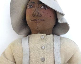 artist doll, vintage cloth doll, black doll, boy doll, folk art doll