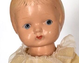 Vintage Patsy-type doll, original clothing, sweet yellow dress