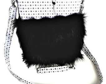 Polka Dot Gray and White Purse With Black Faux Fur, Free Zipper Pull And Wrist Strap Keychain, Imitation Black Fur, Cross Body Bag, Handbag