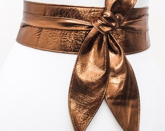 Copper Gold Leather Sash Belt | Copper Sash Belt | Copper Leather Obi belt | Leather Wrap Belt | Plus Size Belt | Gift for her Copper Belt