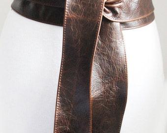 Vintage Dark Brown Leather Obi Tulip tie Belt   Waist or Hip Belt   Sash tie belt   Real Leather Belt  Corset Belt   Plus size belts