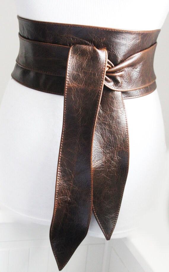 vintage brown leather obi tulip tie belt waist or hip