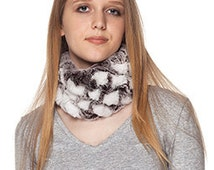 Fur headband. Handmade Rex Rabbit Fur scarf elastic.White Brown Frost Color.