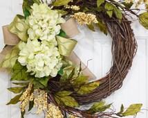 Summer Wreath-Spring Wreath-Grapevine Spring Green Hydrangea Wreath With Beige Berries-Mothers Day Gift-Housewarming Gift-Front Door Wreath