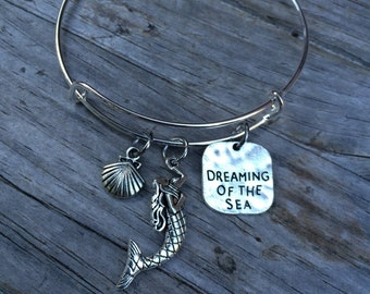 Mermaid Dreaming of the sea bracelet, Ocean Bracelet, Charm Bangle, Charm bracelet, Seashell Bracelet