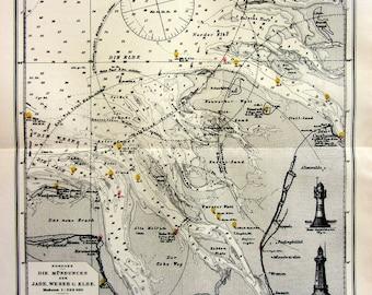1896 Ancient NAUTICAL CHART print, original antique  print of Lighthouse, old sea MAP Bremerhaven Heligoland navigation lithograph
