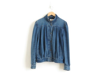 80s Denim Jacket Barb From Stranger Things Jacket Pleated Denim Jacket Vintage Denim Jacket Women Puffy Sleeve Jacket Edwardian Jacket Large