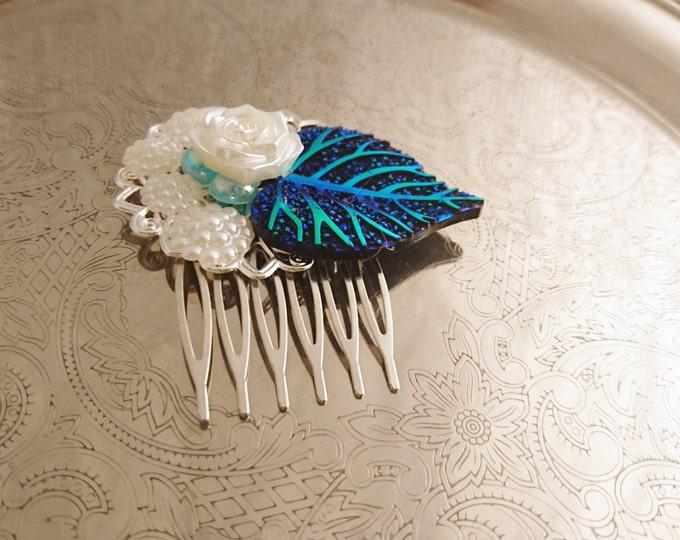 Handmade wedding hair comb clip resin leaf flowers roses vintage blue white pearl wedding prom accessory hair piece bride