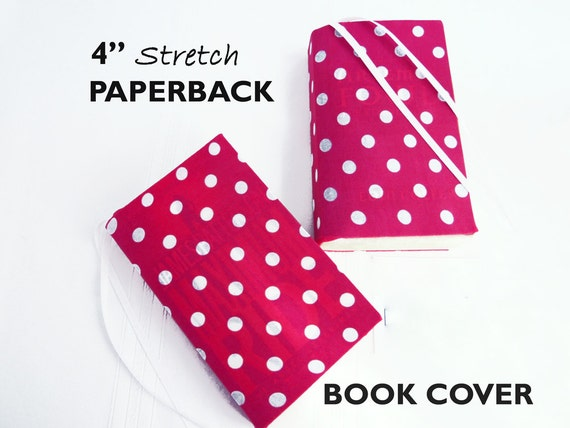 Removable Fabric Book Cover ~ Stretch paperback book cover pink polka dot fabric
