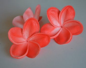 Coral Plumerias Natural Real Touch Flowers frangipani heads for cake Toppers, Wedding Decorations