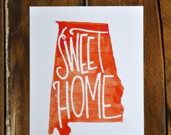 "Sweet home Alabama; orange watercolor hand lettered print, 8x10"""