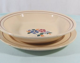 French vintage, serving dish and plate, St Amand ceramics, flower design, French kitchenware, French dresser plates, other items available,