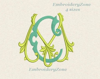 Double antique monograms from old book C & M Machine embroidery designs. CM JM. 2 monograms C M intertwined.4 sizes 4x4 5x7 6x10 No alphabet