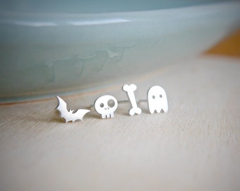 Sterling Silver Creeps, Bat, Skull, Bone, Ghostie Stud Earrings