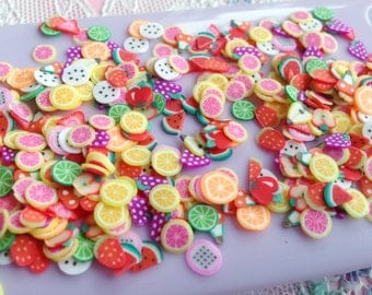 200 pcs Polymer Clay Slice Mix - Fruit (2 packs / 200 pcs by RANDOM) Kawaii Fimo Cane Nail Art Decoration Embellishment A0057