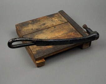 Mid Century Paper Cutter Cast Iron Handle