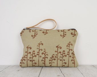 handprinted fabric pouch-Brown design secret gardens