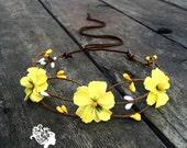 Buttercup yellow flower crown headband // Perfect summer wedding crown, fun, flirty festival headpiece, or bohemian accessory