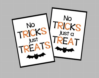 No Tricks Just Treats Halloween Tags. No Tricks Just A Treat. Halloween Treat Tag. Instant Digital Download