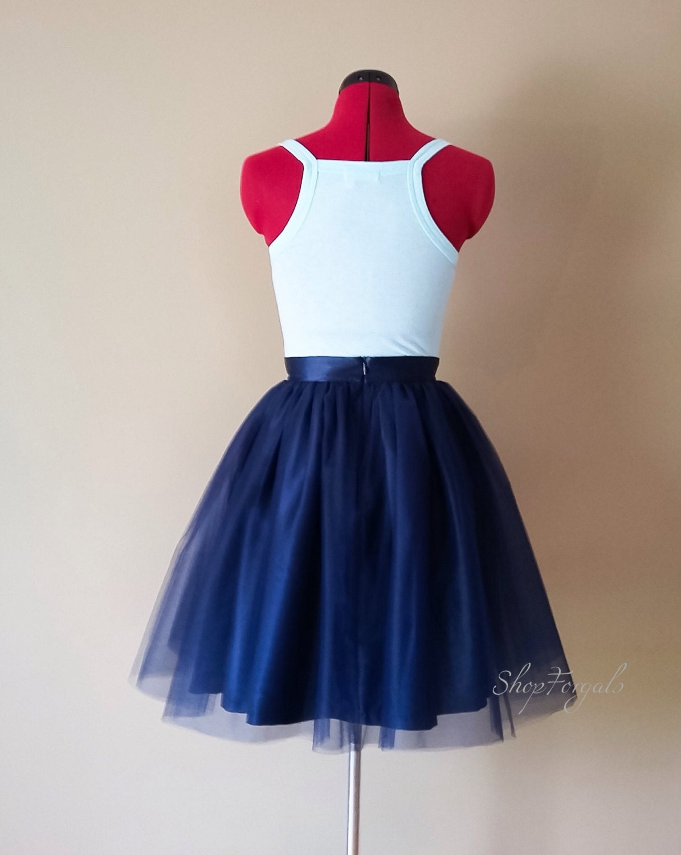 navy blue tulle sewn tutu tulle skirt bridal