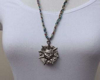 Sun pendant, plaited hemp necklace, pewter sun pendant, summer necklace, pewter pendant, beach pendant, festival pendant