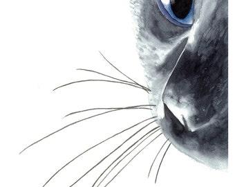 Black Cat Original Watercolor Painting Art Print, Cat Art, Home Decor, Wall Art, Nursery Wall Art, Animal Art, Cat lover Gift
