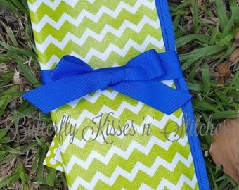 Lime Green Chevron/Reversible Travel Place-mat with Chalkboard/Chalk Included/Vinyl/Wipe Clean/Folds for Travel/Great Gift Idea for Children