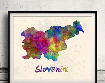 Slovenia - Map in watercolor - Fine Art Print Glicee Poster Decor Home Gift Illustration Wall Art Countries Colorful - SKU 1905